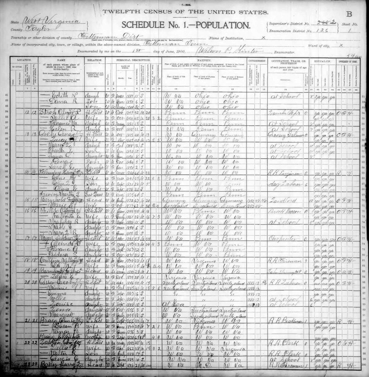Taylor County WV 1900 [B] Census Index